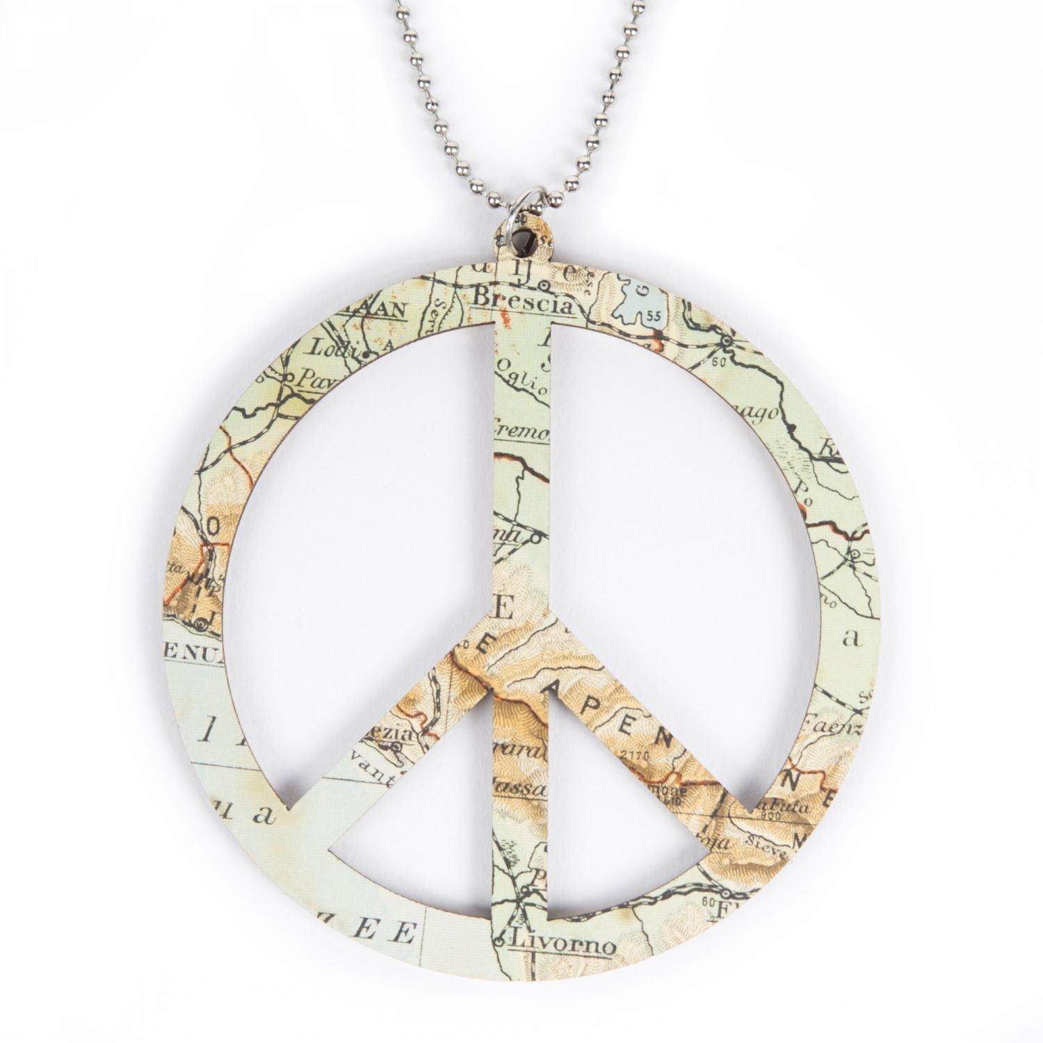 Laser cut wooden necklace / pendant world peace - Lasercut wooden necklace / pendant world peace