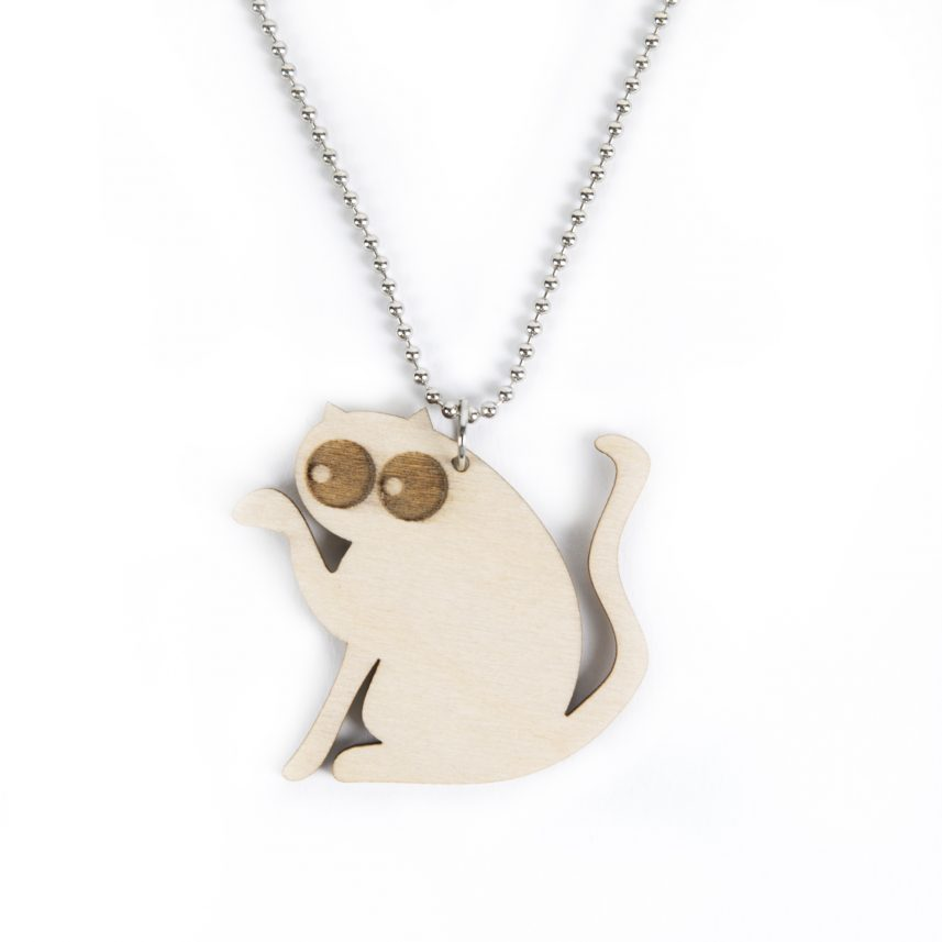 lasergesneden houten kat / poes - Laser cats - Laser cut necklace / pendant cat - lasercat