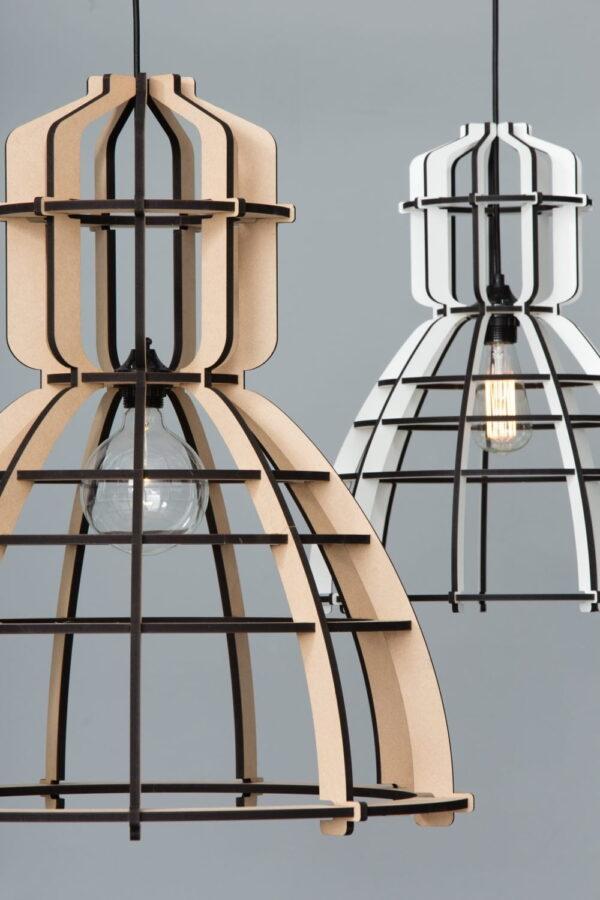Lichtlab no19 Olaf Weller - lasergesneden houten lamp