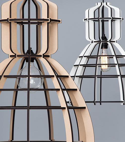 Lichtlab no19XL Olaf Weller - lasergesneden houten lamp