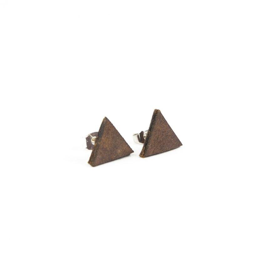 Lasergesneden oorbellen / oorknopjes van kurk, hout, leer / Laser cut earrings / earcuffs made of cork, leather, wood - oorknop leer driehoek