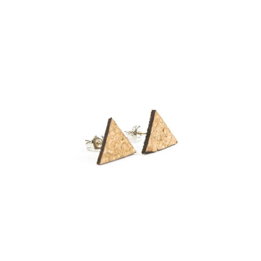 Lasergesneden oorbellen / oorknopjes van kurk, hout, leer / Laser cut earrings / earcuffs made of cork, leather, wood - oorknop kurk driehoek
