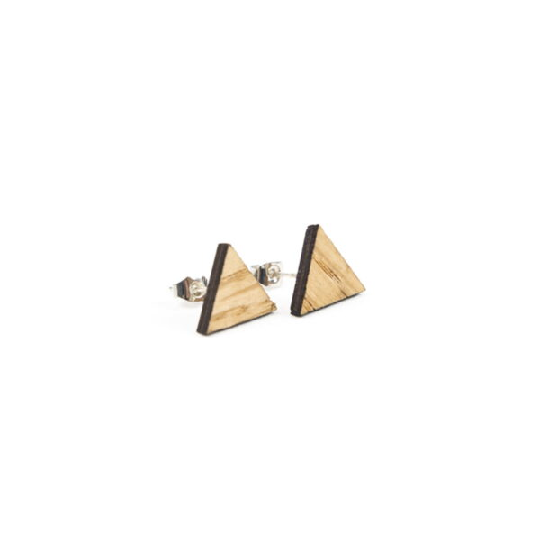 Lasergesneden oorbellen / oorknopjes van kurk, hout, leer / Laser cut earrings / earcuffs made of cork, leather, wood - oorknop hout driehoek