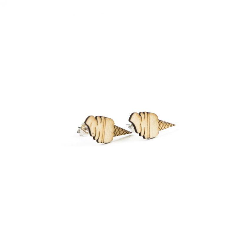 Lasergesneden oorbellen / oorknopjes van kurk, hout, leer / Laser cut earrings / earcuffs made of cork, leather, wood - Oorknopjes softijs