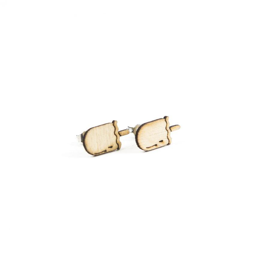 Lasergesneden oorbellen / oorknopjes van kurk, hout, leer / Laser cut earrings / earcuffs made of cork, leather, wood - Oorknopjes choco