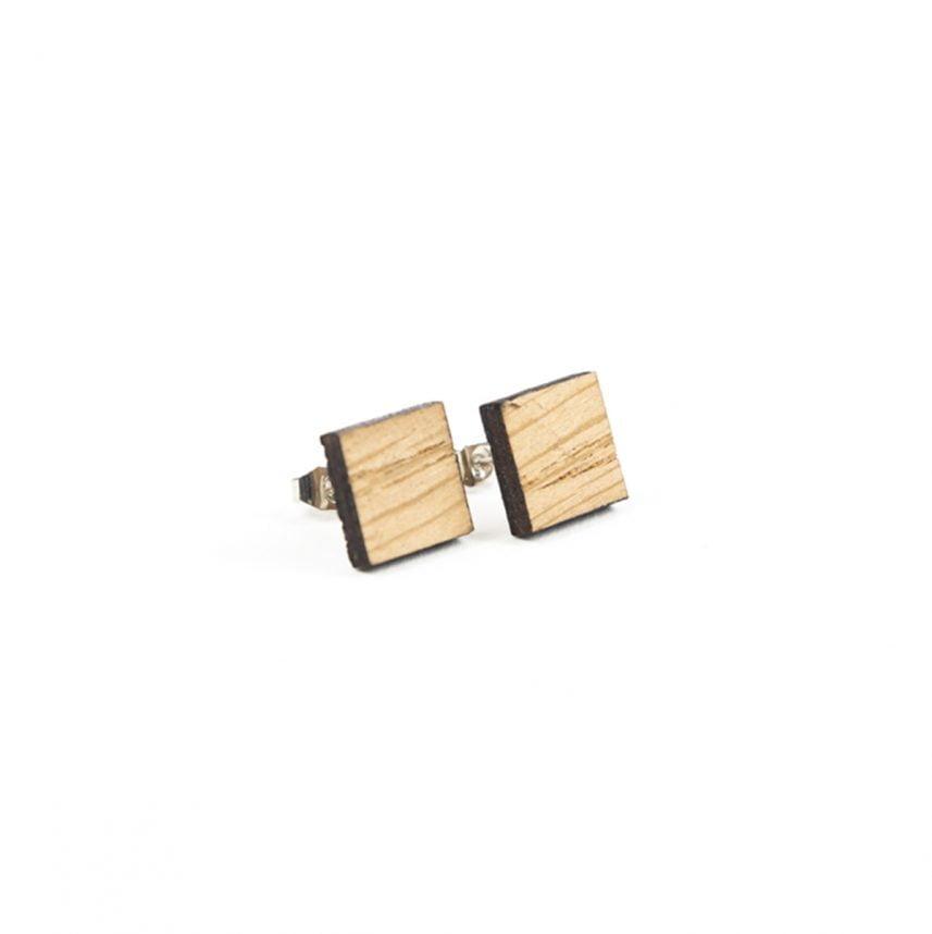 Lasergesneden oorbellen / oorknopjes van kurk, hout, leer / Laser cut earrings / earcuffs made of cork, leather, wood - oorknop hout vierkant