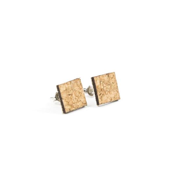 Lasergesneden oorbellen / oorknopjes van kurk, hout, leer / Laser cut earrings / earcuffs made of cork, leather, wood - oorknop kurk vierkant