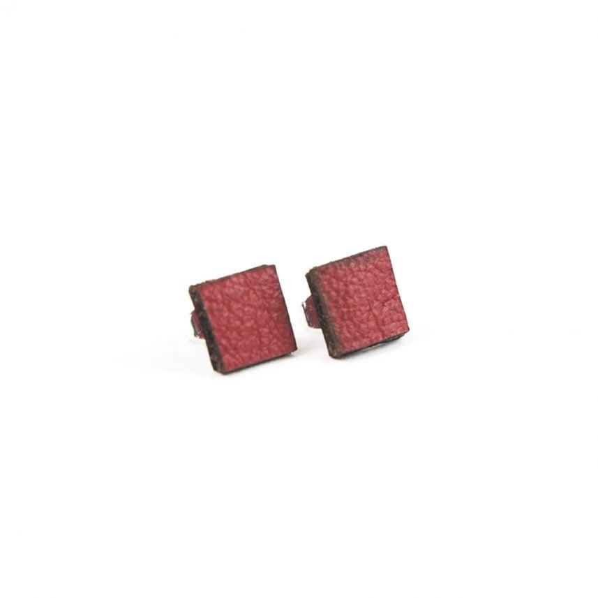 Lasergesneden oorbellen / oorknopjes van kurk, hout, leer / Laser cut earrings / earcuffs made of cork, leather, wood - oorknop leer vierkant
