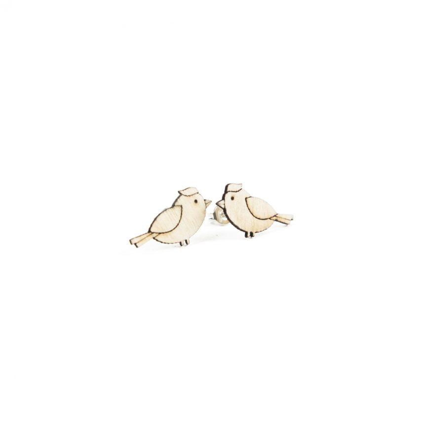 Lasergesneden oorbellen / oorknopjes van kurk, hout, leer / Laser cut earrings / earcuffs made of cork, leather, wood - oorknop kuifmees