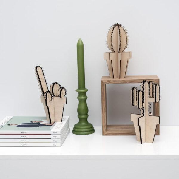lasergesneden houten cactus / bloemen