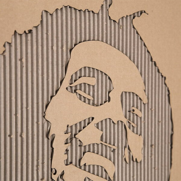 Gegraveerde illustratie lasergesneden - engraved lasercut wall decoration - bob marley artwork