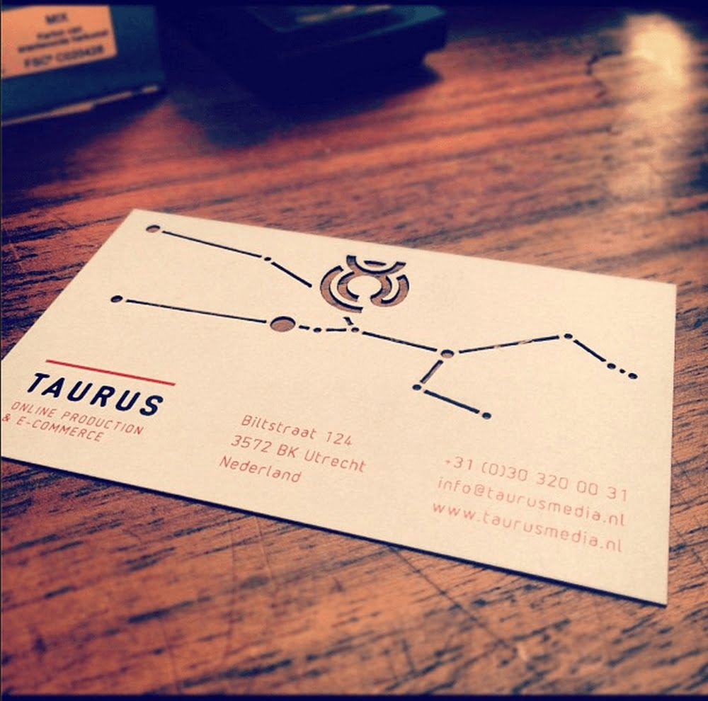 taurus-media-visitekaartjes laser cut / lasergesnden visitekaartjes