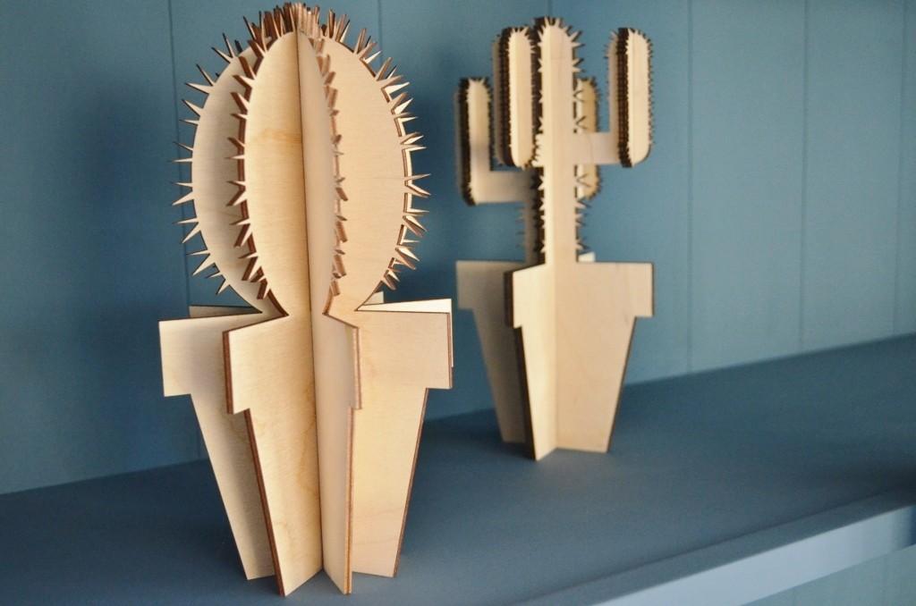 Houten cactussen / houten accessoires