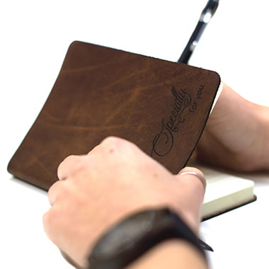 Leather notebook with engraving - leather diary - leather travel journey