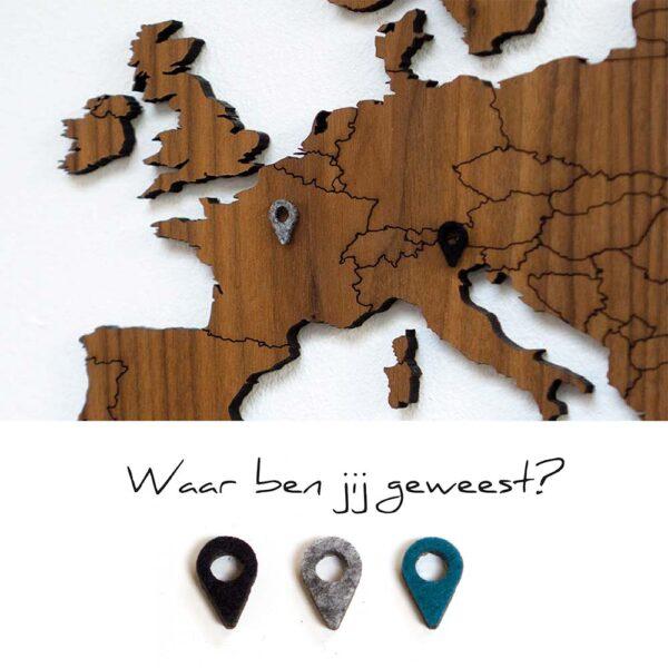 Locatiemarkers - houten wereldkaart