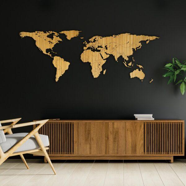 Houten wereldkaart van bamboe hout