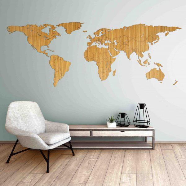houten wereldkaart van bamboe