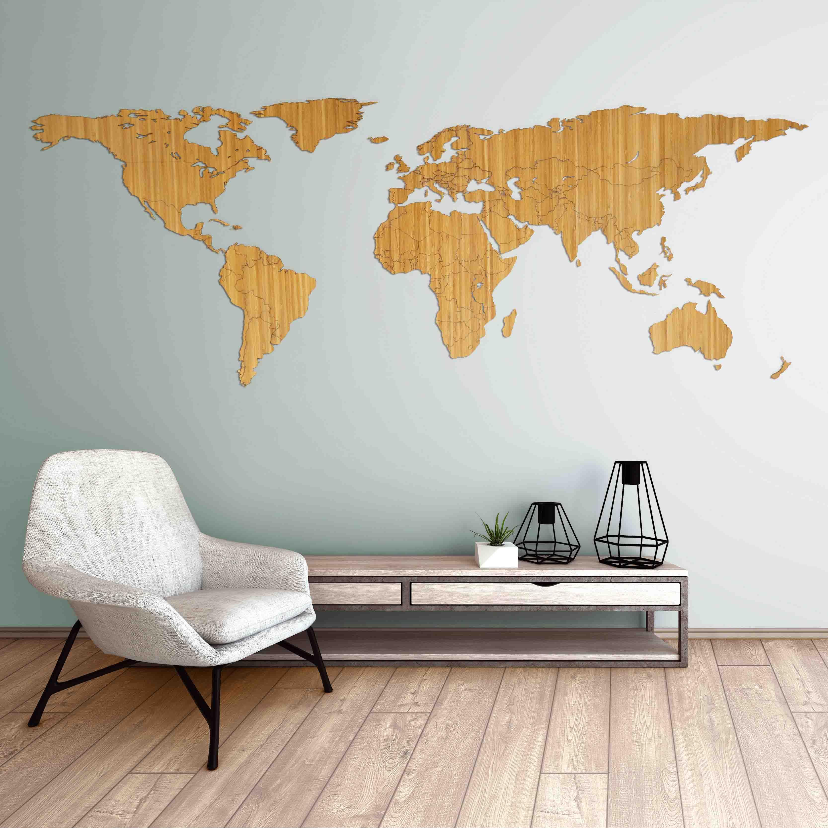 Houten Decoratie Voor Aan De Muur.Houten Wereldkaart Bamboe