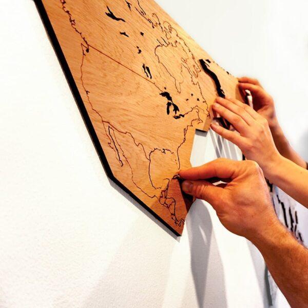 houten wereld kaart - lasercut wooden worldmap