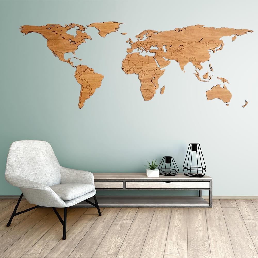 Full Wall World Map.Wooden World Map Oak Unique Wall Decoration For Every Interior