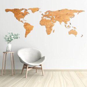 Houten wereldkaart – Eiken