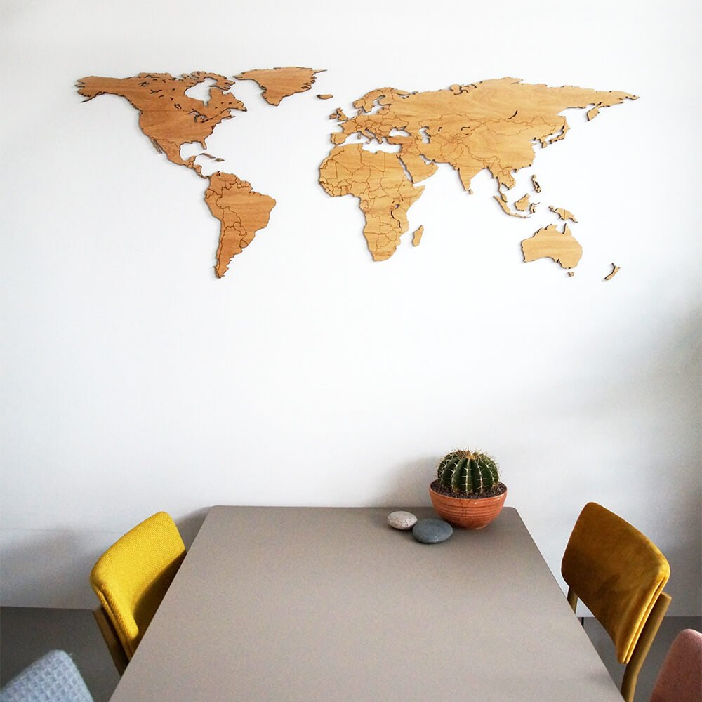 Laser Cut World Map.Wooden World Map Oak Unique Wall Decoration For Every Interior