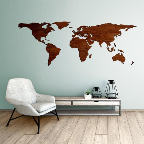 houten wereldkaart - lasercut wooden worldmap - Walnoten hout