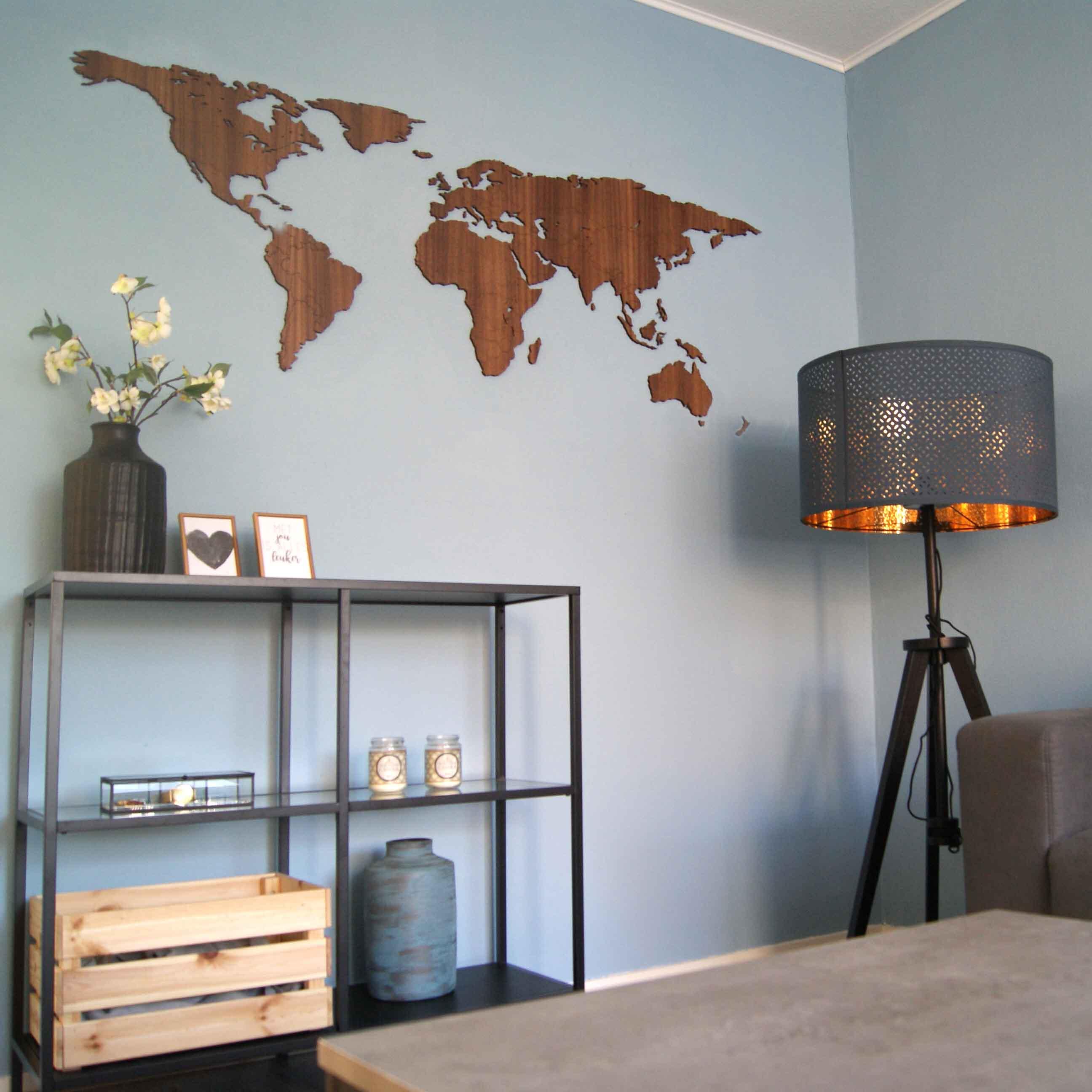 Muurdecoratie Hout Woonkamer.Houten Wereldkaart Walnoten Unieke Wand Decoratie Voor