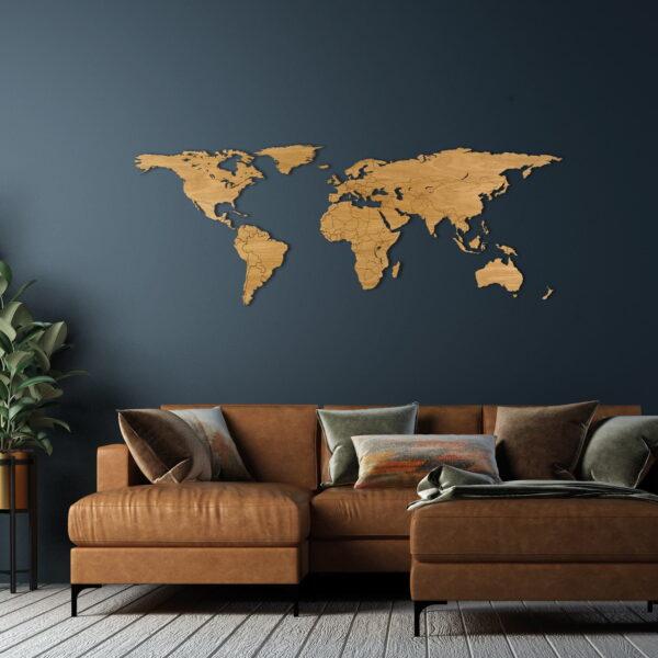 Houten wereldkaart eikenhout