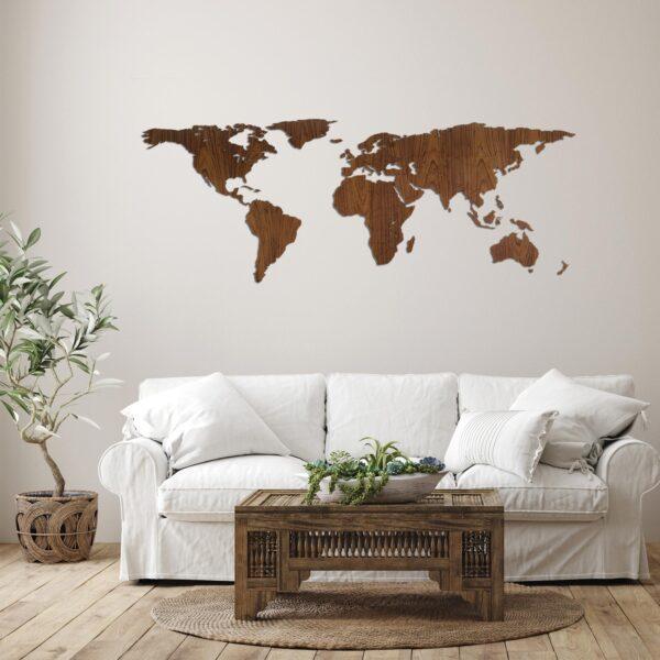 Houten wereldkaart walnoten hout
