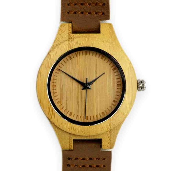 Small wooden watch with leather strap