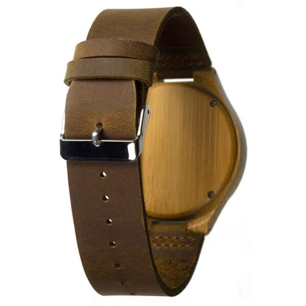 bamboo wooden watch with leather strap