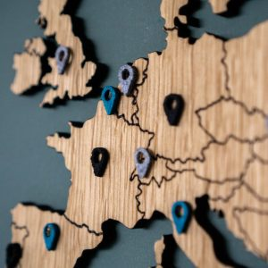 Plaats markers wereldkaart - push pins