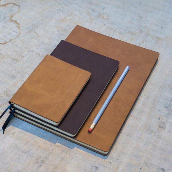 Leren notitieboekje met logo