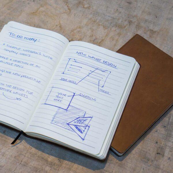 Lijntjes papier leren notitieboekje A5 met logo