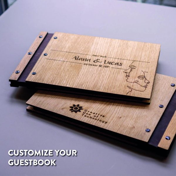 wooden wedding guestbook with own design