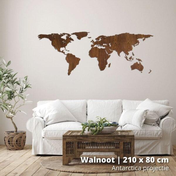 houten-wereldkaart-antarctica-projectie-walnoot-210-stock
