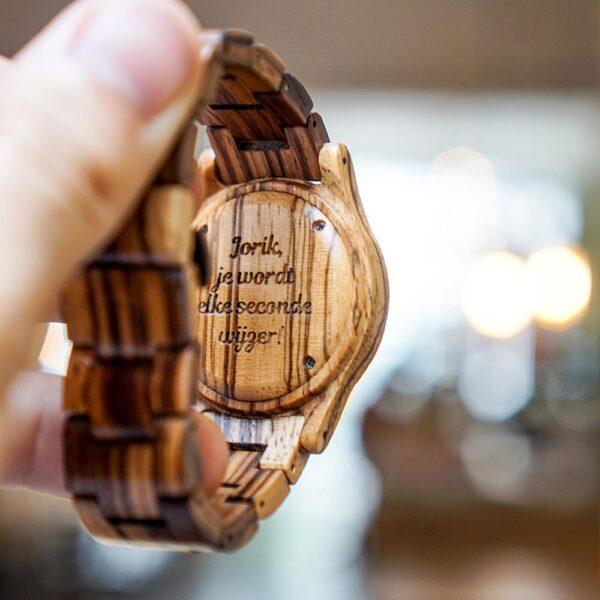 Houten horloge met gravering - Maak je eigen ontwerp