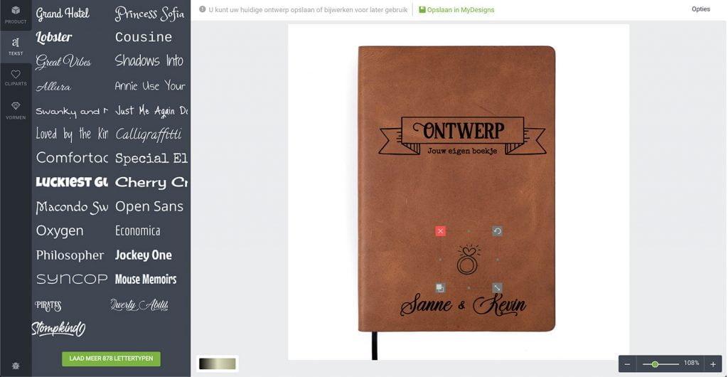 Leren notitieboekje - Maak je eigen design