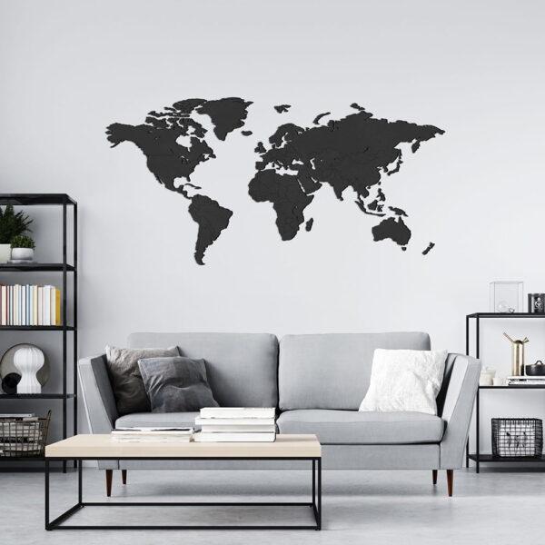 Houten wereldkaart zwart - woon decoratie
