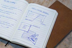 Leren notitieboekje - eigen ontwerp