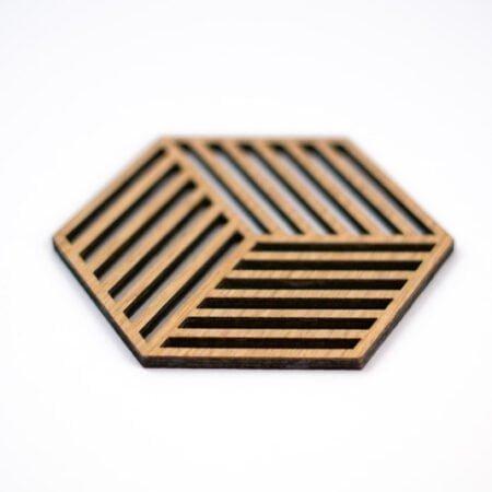 Houten geometrische onderzetters