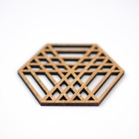 houten geometrisch onderzetter setH