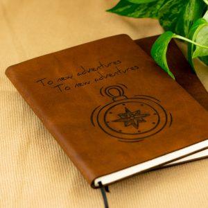 Leren notitieboekje - eigen ontwerp- reisdagboek